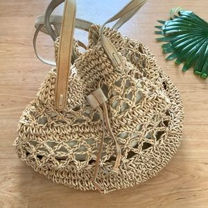 Boho large drawstring woven straw bucket bag